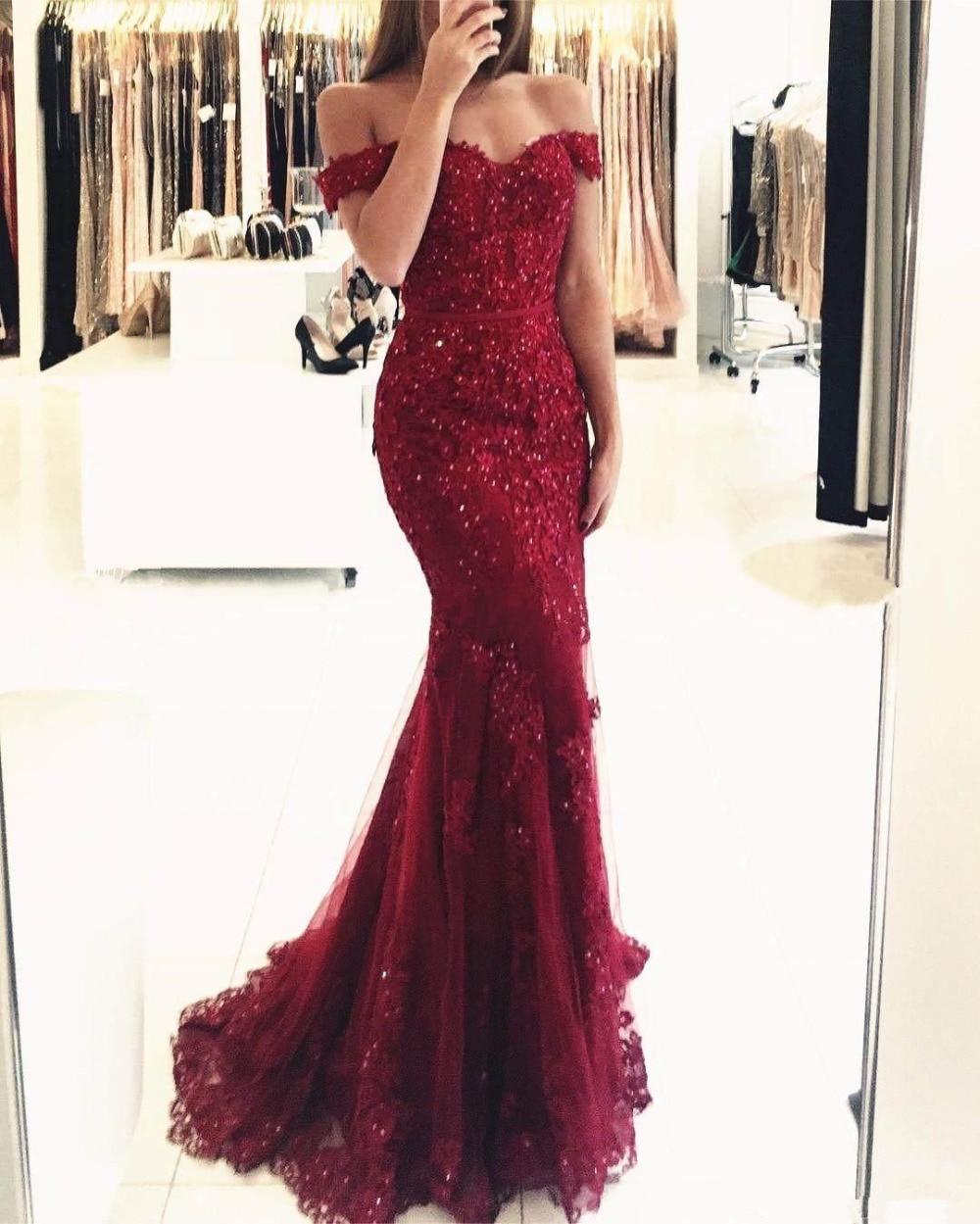 Off the Shoulder Long Dress Elegant Mermaid Evening Dress 2018 Lace Robe De Soiree longue 2017 Formal Dress abiye gece elbisesi
