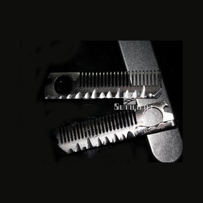 EDC outdoor portable gadgets Hyun Wei titanium alloy B1 font b Tactical b font Defense comb