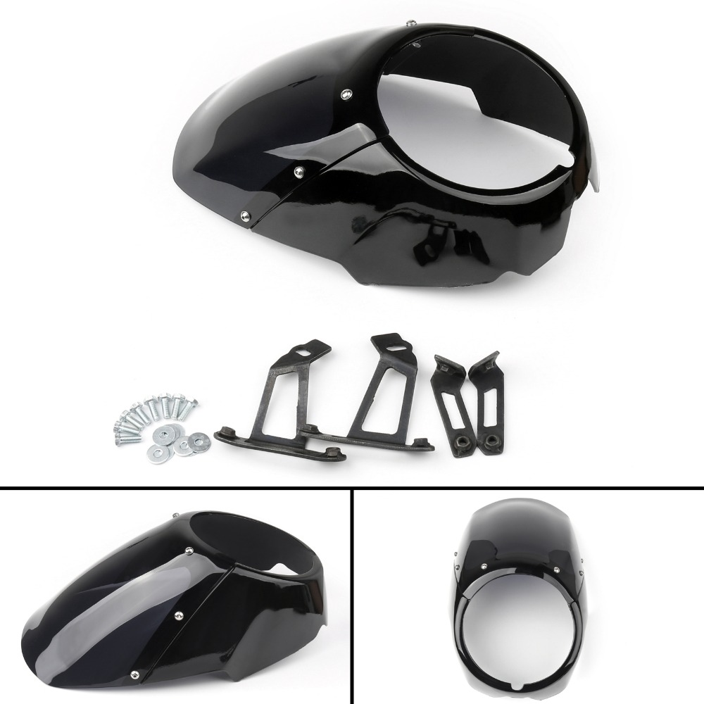 Areyourshop Motorcycle Front Headlight Fairing w/ Mouting Bracket Kit For Victory Octane 2017 Black Motorbike Styling Covers areyourshop windshield bag saddle 3 pouch pocket fairing for harley touring bike 1996 2015 black motorcycle covers