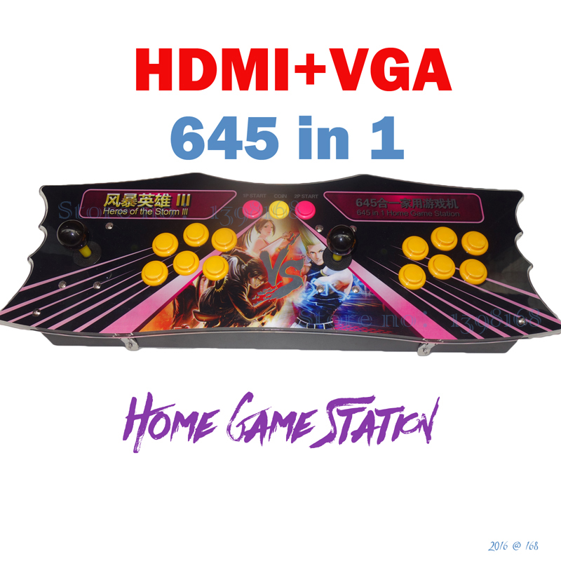 HDMI home game station/ game console/ 645 in 1 games arcade board / Arcade joystick game controller/ / VGA / hdmi out put sanwa button and joystick use in video game console with multi games 520 in 1