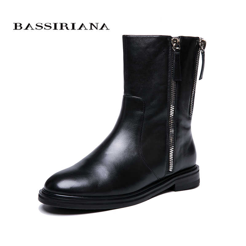 BASSIRIANA 2018 new winter boots with fur shoes leather women's large size 35-40 high quality women's shoes
