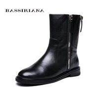 BASSIRIANA/2018 новые зимние ботинки с мехом обувь кожаная женская большие размеры 35–40 высокого качества Женская обувь