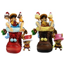 2pcs Set One Piece Anime Luffy Chopper Cate Shoes Figures Gift Free Shipping