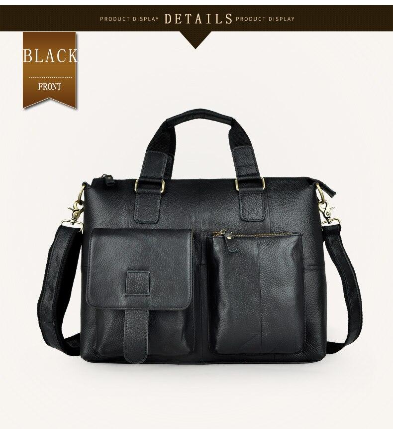 "HTB15csqdf6H8KJjSspmq6z2WXXaW Men Genuine Leather Office Maletas Business Briefcase 15.6"" Laptop Case Attache Portfolio Bag Maletin Messenger Bag B260"