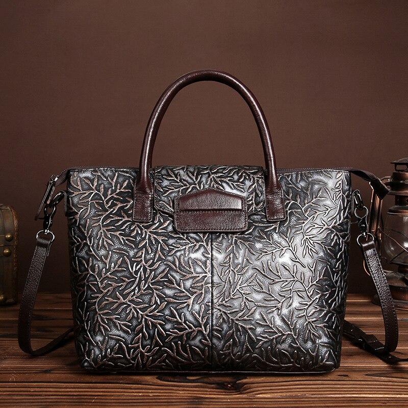 High Quality Genuine Leather Ladies Handbags Women Vintage Embossed Flower Shoulder Bags National Female Messenger Bag Tote