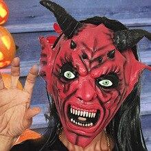 1pcs Demon Scary Mask Halloween Long Hair Ghost Horror Latex Masks Full Face Unisex Mascara Cosplay Terror Party Decor