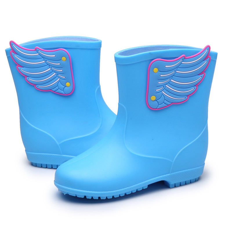 Toddler Rain Boots Baby Cartoon Wing Cute Water Shoes Boys Antiskid Waterproof Tube RainShoes Fashion New Infant Wing Overshoes