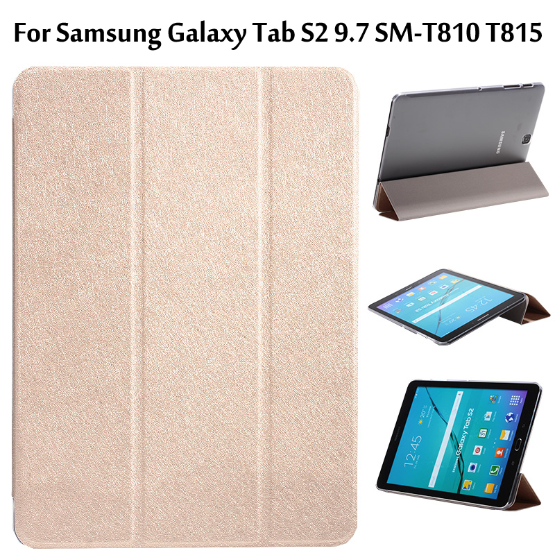 For Samsung Galaxy Tab S2 9.7 SM-T810 T815 Ultra Slim 3-Fold Transparent Clear Cover PU Leather Protective Case +Film +Pen protective clear screen protector film guard for samsung t3100 t3110 galaxy tab 3 transparent