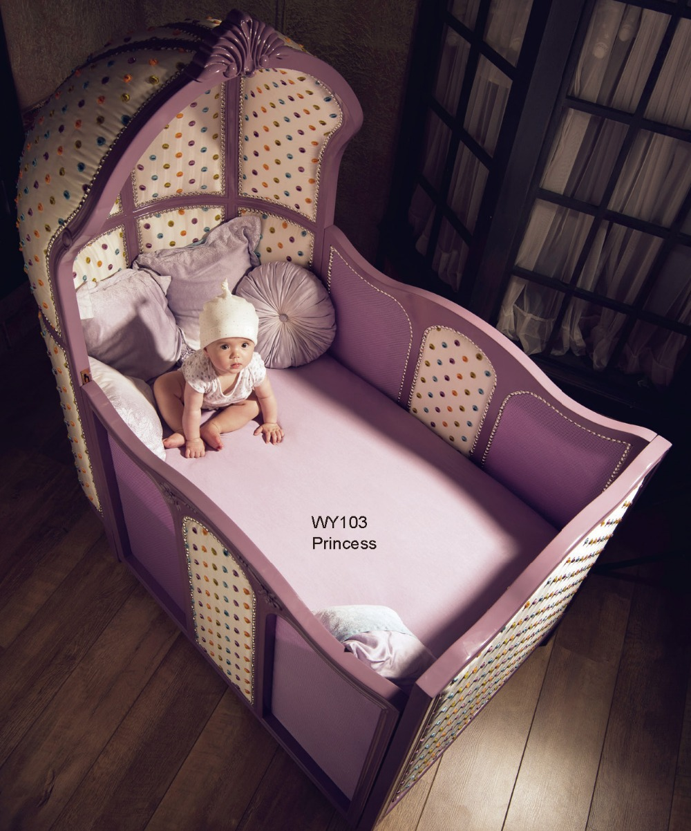 Baby bed online shopping - European Luxury Wooden Purple Crib Princess Theme Baby Cot Including Wheels German Beech China
