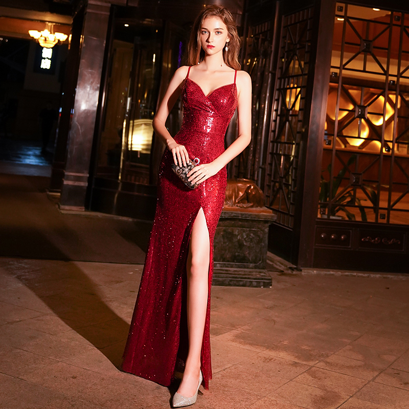 Evening Dress 2019 Women Cheap Backless Wine Red Sexy V Neck Party Long Black Formal Gown Mermaid Dresses LYFY06