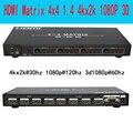 Playvision Ультра-высокого разрешения HDMI матрица 4X4 4 в 4 из HDMI1.4V 3D 4 К Х 2 К RS232 с Дистанционным управлением