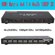Playvision Ultra-high resolution HDMI matrix 4X4 4 in 4 out  HDMI1.4V 3D 4kX2K RS232 with Remote control