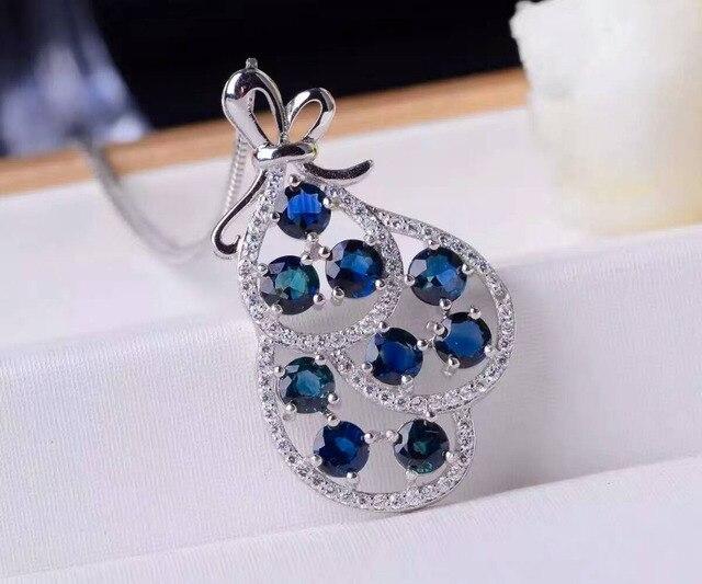 ac46e49e1ea Natural azul safira pingente S925 prata gemstone Natural Pingente de Colar  na moda Elegante Sorte saco