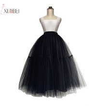 Black Long Wedding Petticoat Tulle Skirt Bridal Dress Ball Gown Underskirt Accessories