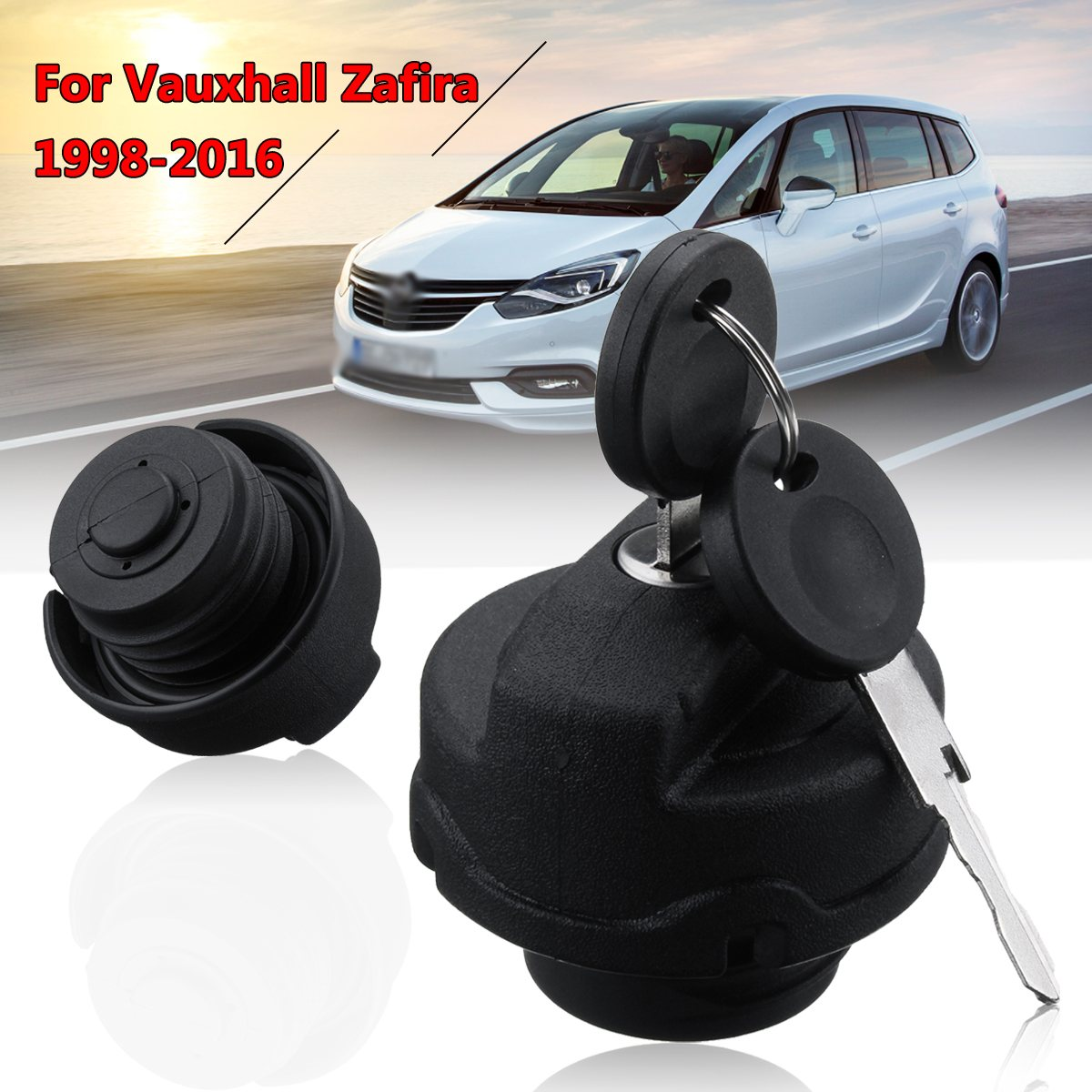 1Pc Car/Automobiles Black Locking Fuel Tank Cap + 2 Keys For Vauxhall Zafira Petrol 1998-2016