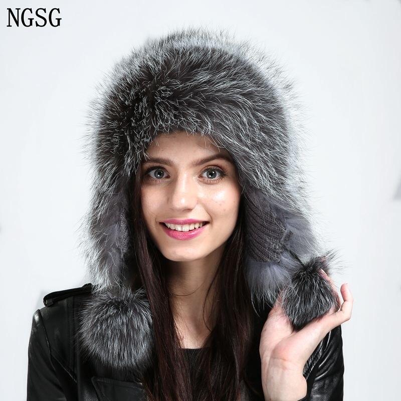 NGSG Lady téli valódi ezüst róka szőrme sapka nők bolyhos - Ruházati kiegészítők