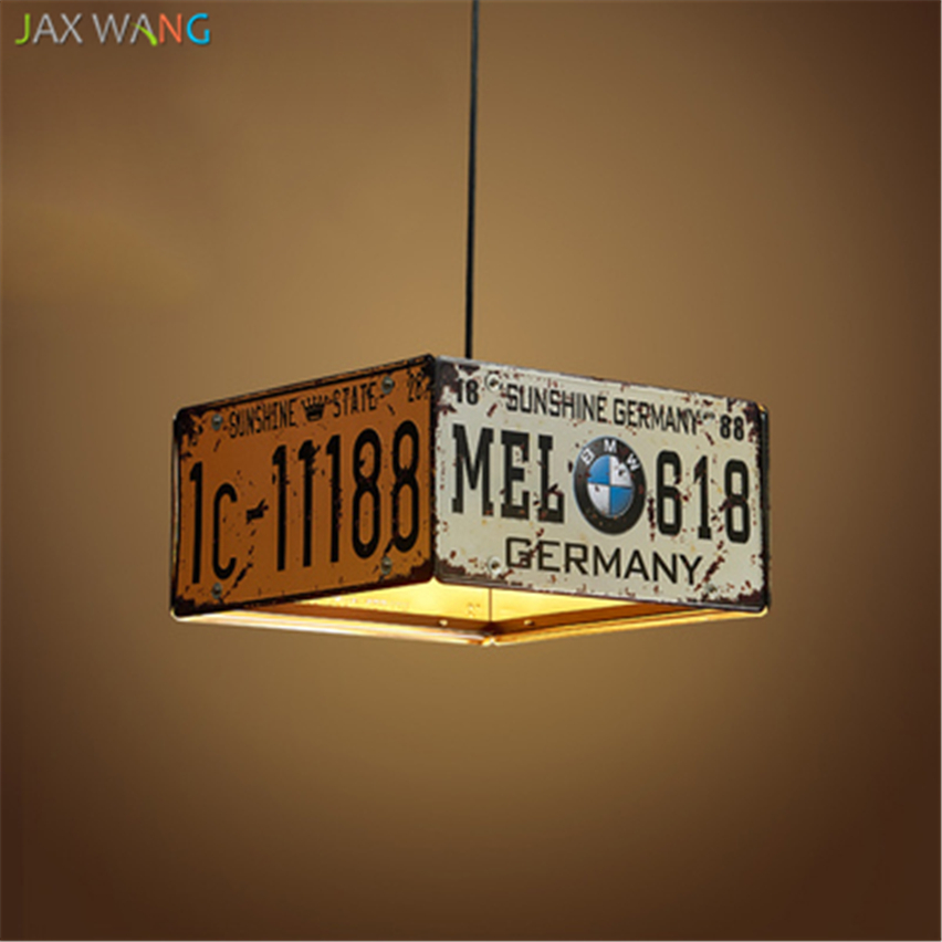 American Vintage LED Pendant Lights for Dining Room kitchen hanglamp de Loft Retro License Plate Industrial iron light fixturesAmerican Vintage LED Pendant Lights for Dining Room kitchen hanglamp de Loft Retro License Plate Industrial iron light fixtures