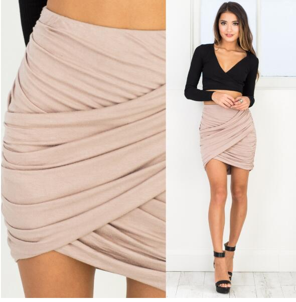 Summer 2017 New Women Sexy Skirt High Waist Pleated Solid Slim Short Skirts Nightclub Pack Hip Mini Skirt Various Colors