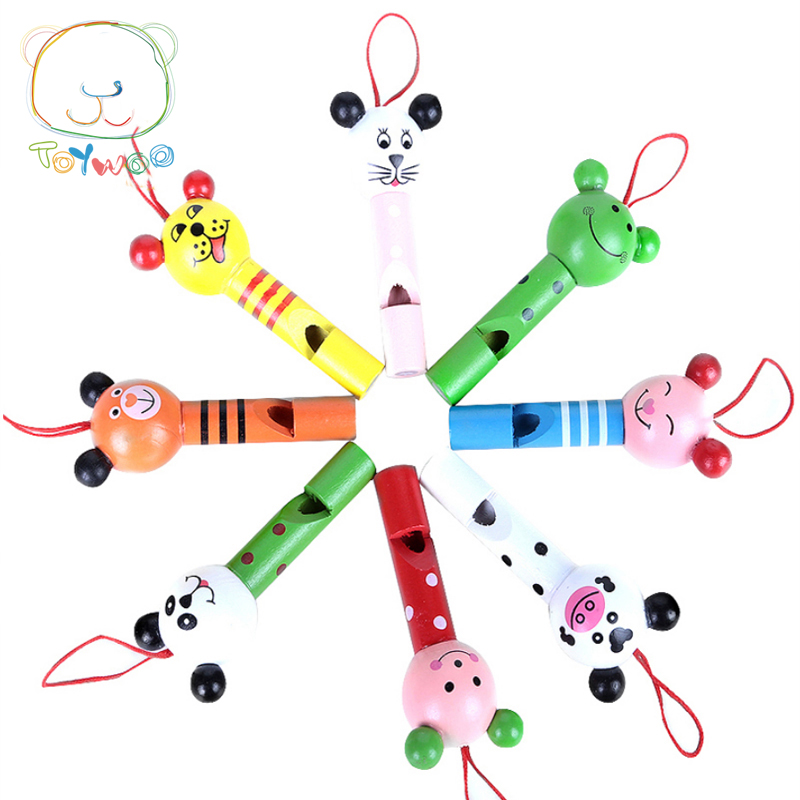 Toy Woo Whistle Wooden Colorful Cartoon Animal Whistle Early Music Education For 1~3 Years Old Children image