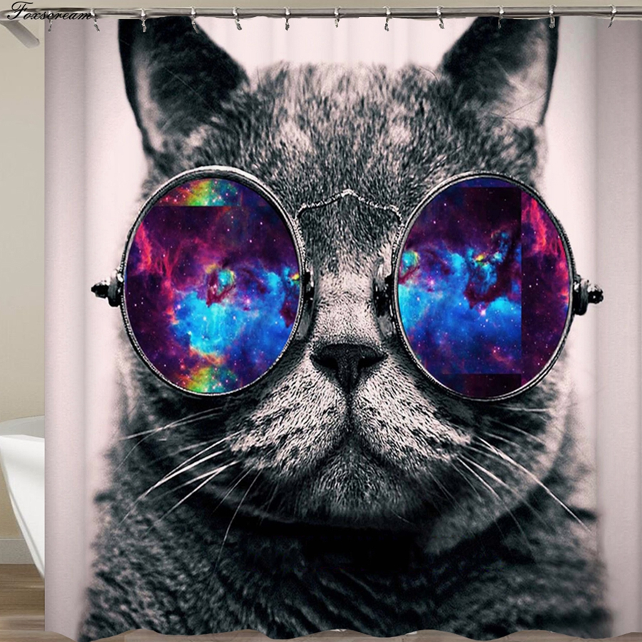 Cat Shower Curtains Bathroom Curtain 3D Fabric Funny Waterproof With Hooks