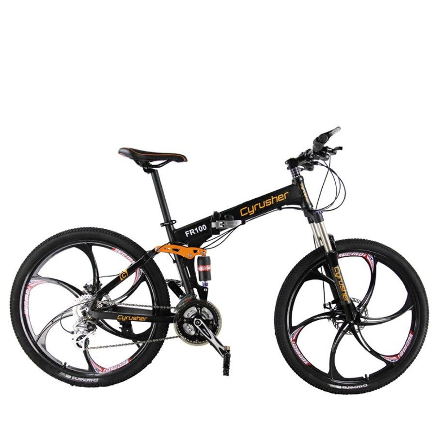 Cyrusher FR100 Montagne de Pliage Vélo 24 Vitesse 26*17 En Alliage D'aluminium Pleine Suspension Cadre Disque De Frein Pliable vélo vélo