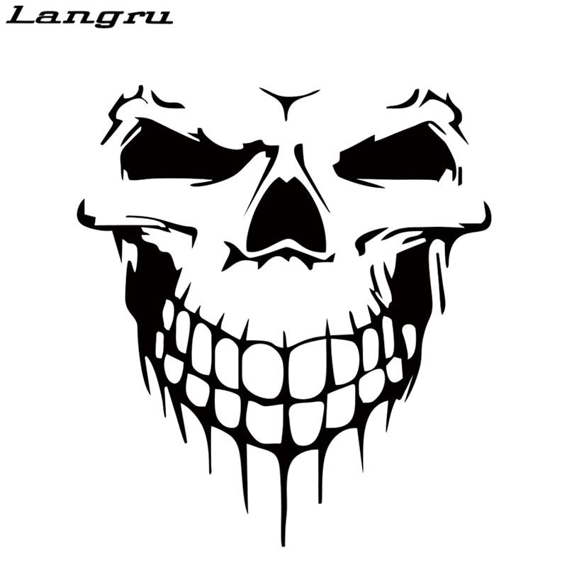 Langru Hot Sale Cool Graphics Skull Hood Decal Vinyl Large