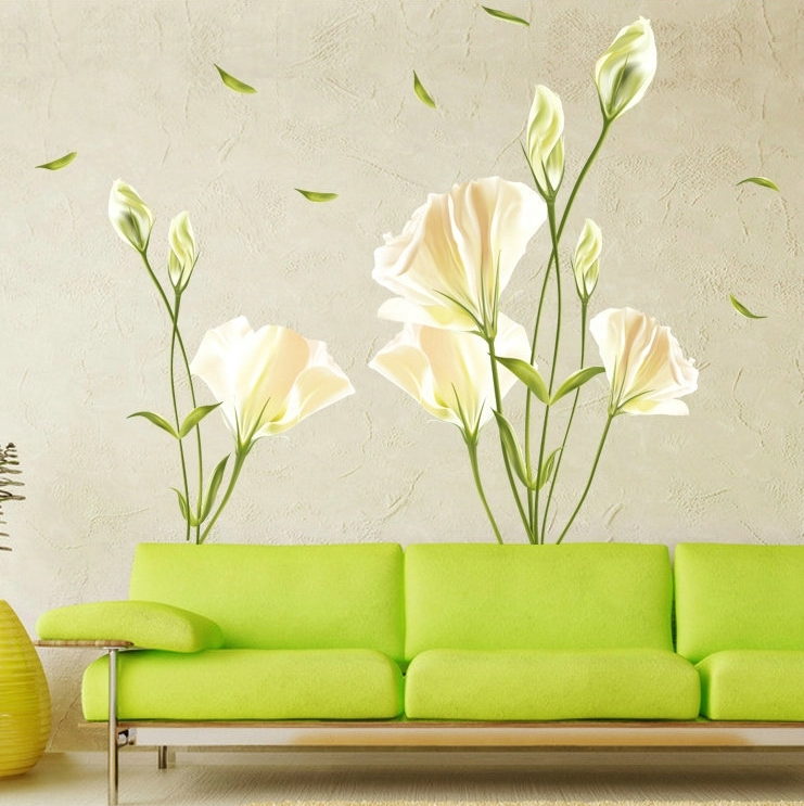 elegant white lily flowers wall stickers women rooms backdrop home ...