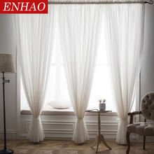 ENHAO Solid Tulle Curtains for Living Room Bedroom Tulle for the Kitchen Modern Sheer Curtains Window Voile Drapes Finished Door(China)