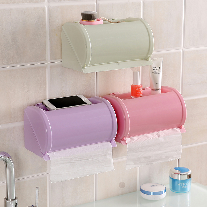 Plastic Waterproof Toilet Paper Holder Toilet Tissue Storage Box Self Adhesive Bathroom Roll Paper Holder 4 Colors