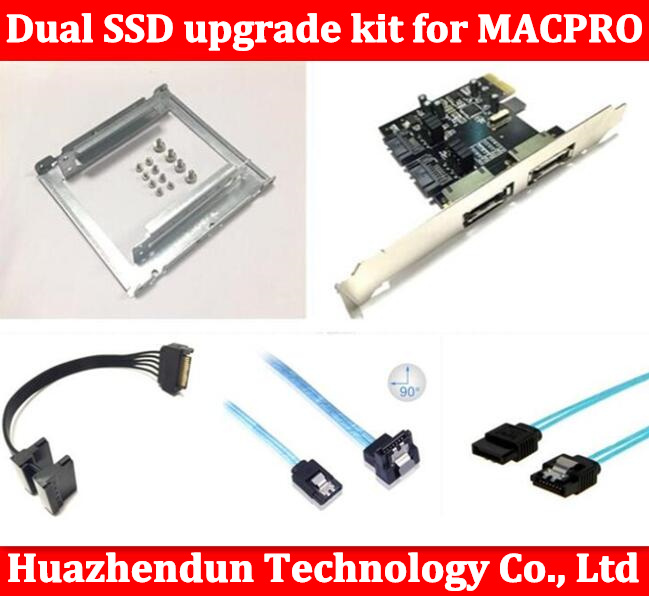 ФОТО New Dual SSD upgrade kit for MAC PRO 1.1-5.1 inclued (dual ssd tray/ sata cable/ sata3 card /SATA3.0 Hard Disk Data Cable)