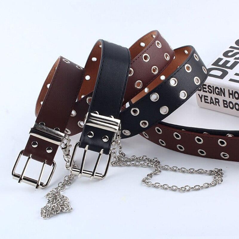 Women Punk Chain Belt Adjustable Black Double/Single Eyelet Leather Buckle Belt