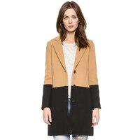 осень зима простой цвет Hit Mean лепесток свободного покроя открытая правда женщины шерсть пальто XS-ххl