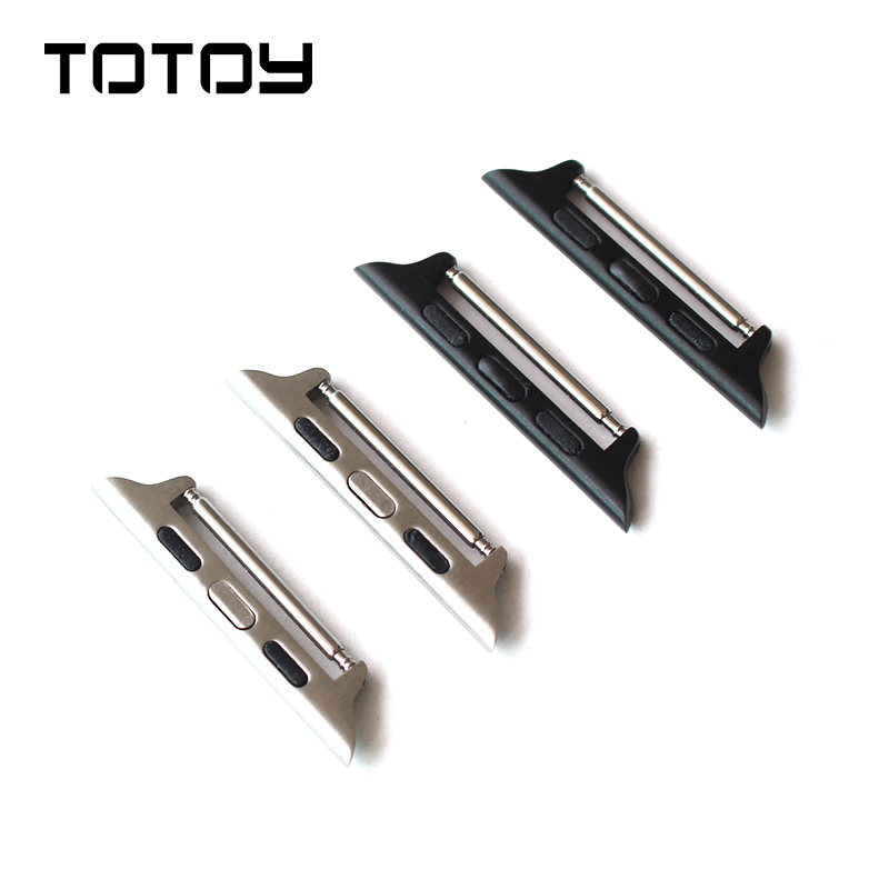 цена на TOTOY 316 Stainless Steel Connector for Apple Watch 1 2 3 Silver Black Connector, 38MM 42MM Raw Ear Connector