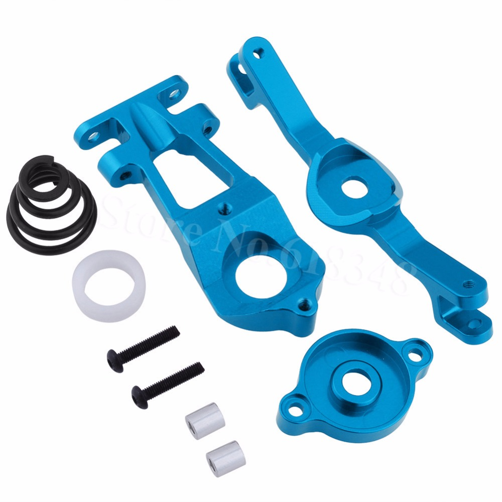 Aluminum Steering Servo Saver Set Pivot bar Arm (Upper/Lower) Spring For Traxxas 1/10 E-Revo 3.3 Upgrade Hop-Up 5344 complete aluminum arm set include front upper arm front lower arm and rear lower arm fit for kyosho mp7 5 inferno gt2 ve