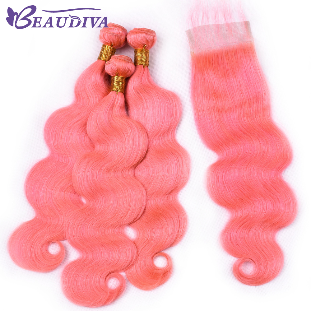 Beaudiva Mongolian Body Wave Human Hair 3 Bundles With Lace Closure Light Pink Hair 10-26 Free Part Swiss Lace TOP Closure
