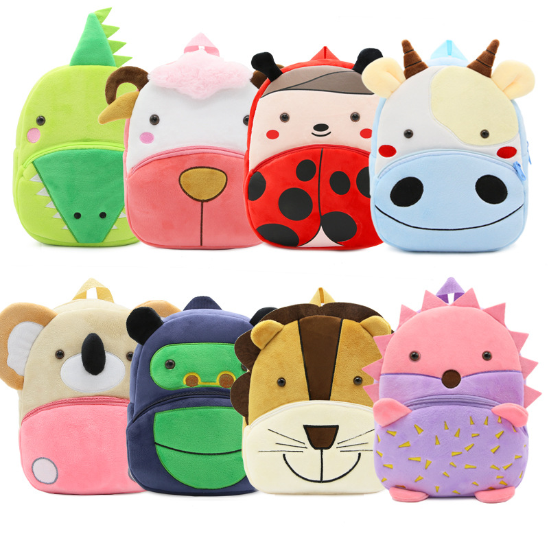 все цены на 2018 Plush Children Backpacks Kindergarten Schoolbag 3D Cartoon Zoo Animal mochila infantil Children School Bags for Girls Boys онлайн
