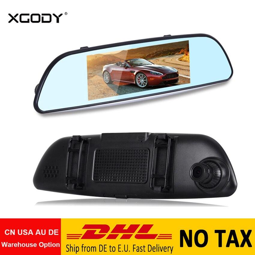 Xgody Car Dvr Dashcam-Mirror Rear-View-Camera Video-Recorder Touch-Screen Double-Lens