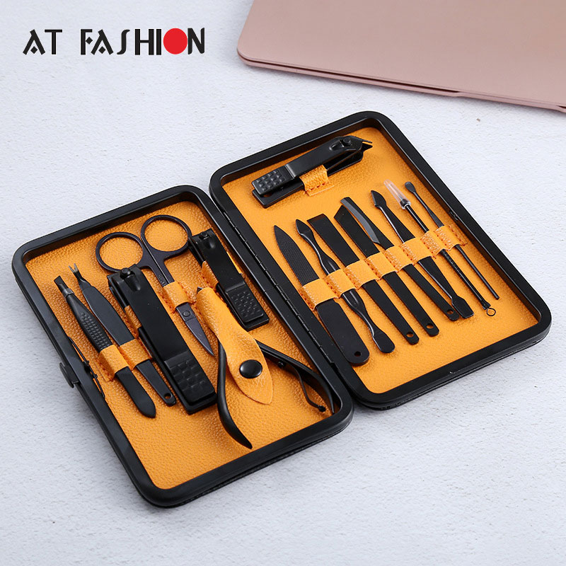 15 in 1 pcs Nail Clipper Kit with case Nail Care Set Pedicure Cutters Scissor Tweezer Knife Ear pick Utility Manicure Set Tools