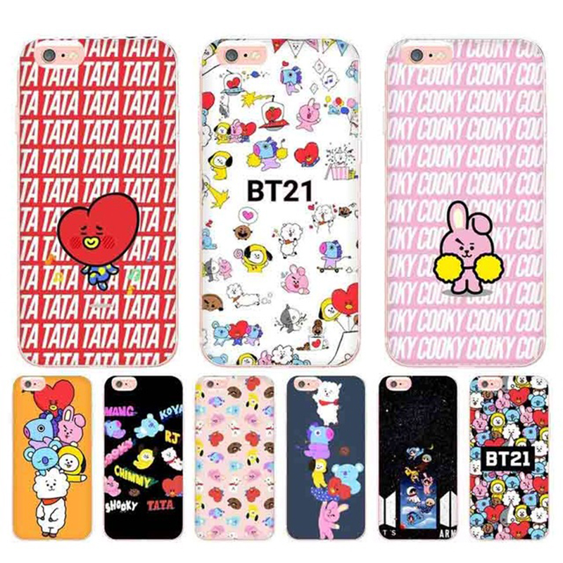 Laumans BTS BT21 Coque Shell Phone Case for Apple iPhone 8 7 6 6S Plus X
