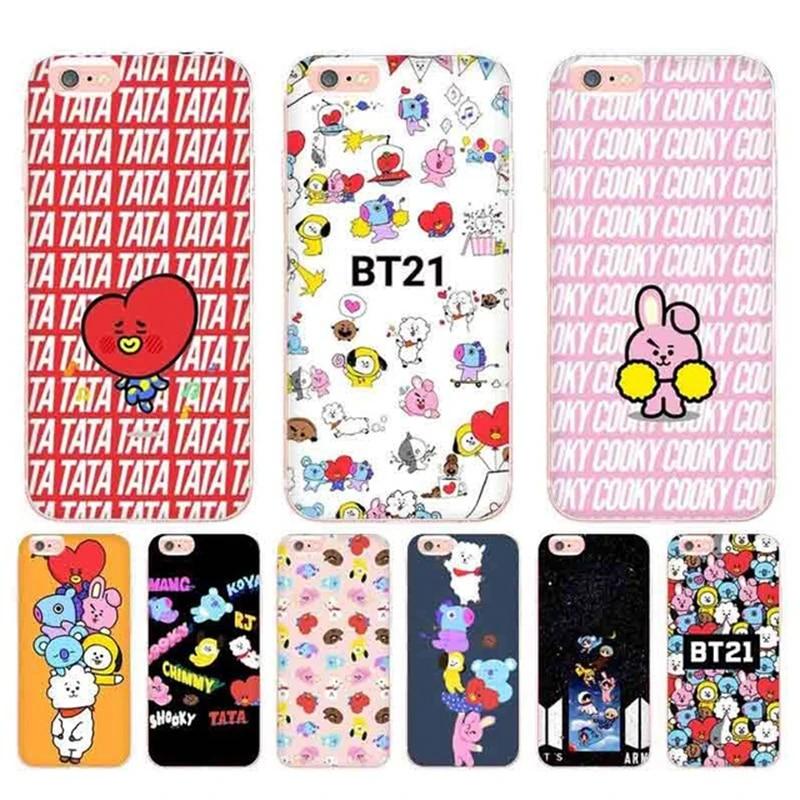 Laumans BTS BT21 Coque Shell Phone Case for Apple iPhone 8 7 6 6S Plus X 5 5S SE 5C 4 4S Cover