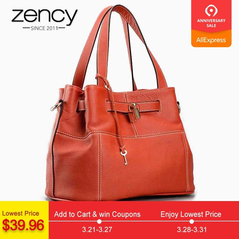 Zency 100% кожа коровы Элегантный для женщин сумка Шарм Оранжевый Мода Crossbody Кошелек с замком украшения сумки