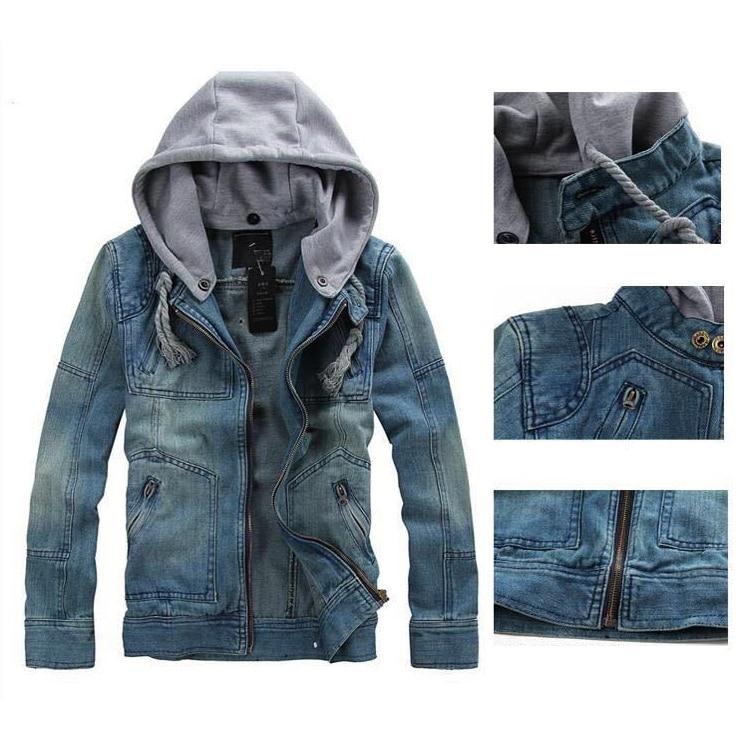 Men Jacket Hoodies Washable Detachable Hat Jackets Bomber Denim