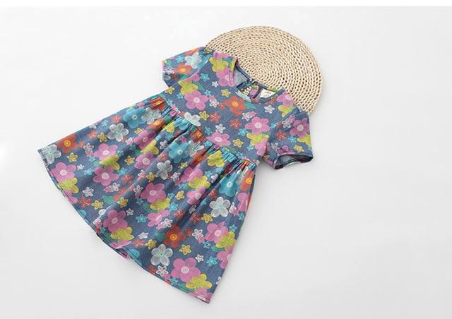 Baby Girls Summer Floral Dresses Girls Flowers-print Dress Kids Summer Casual Cotton Dresses