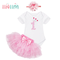 Pink Pretty Newborns Cute Infantil Baby Girls 1st First Birthday Party Gifts Cotton Mesh Romper With