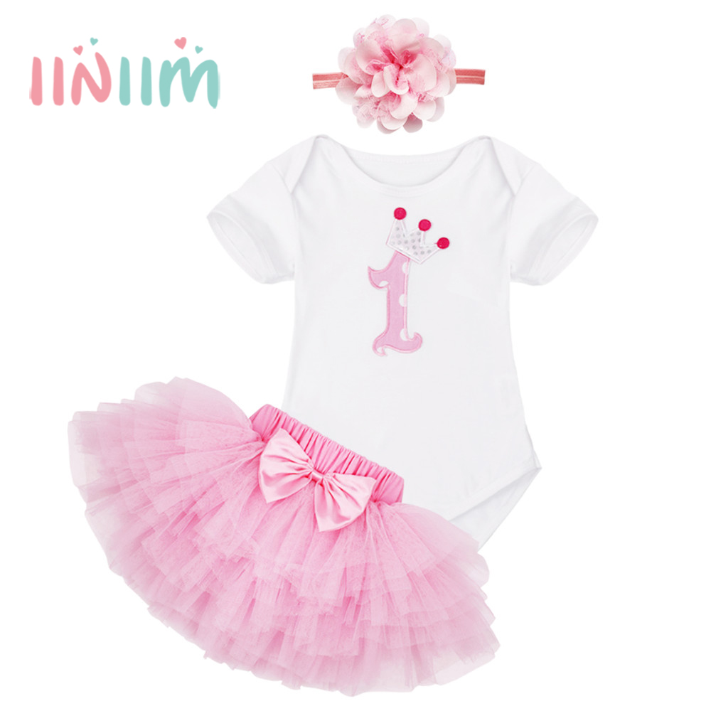 3PCS Pink Newborns Baby Girls 1st First Birthday Party Gifts Cotton Romper with Tutu Skirt Outfit Short Sleeves Girls Clothing santa baby girl christmas outfit set tutu children girls 3 piece romper tutu skirt toddler tutus party dress infant clothing