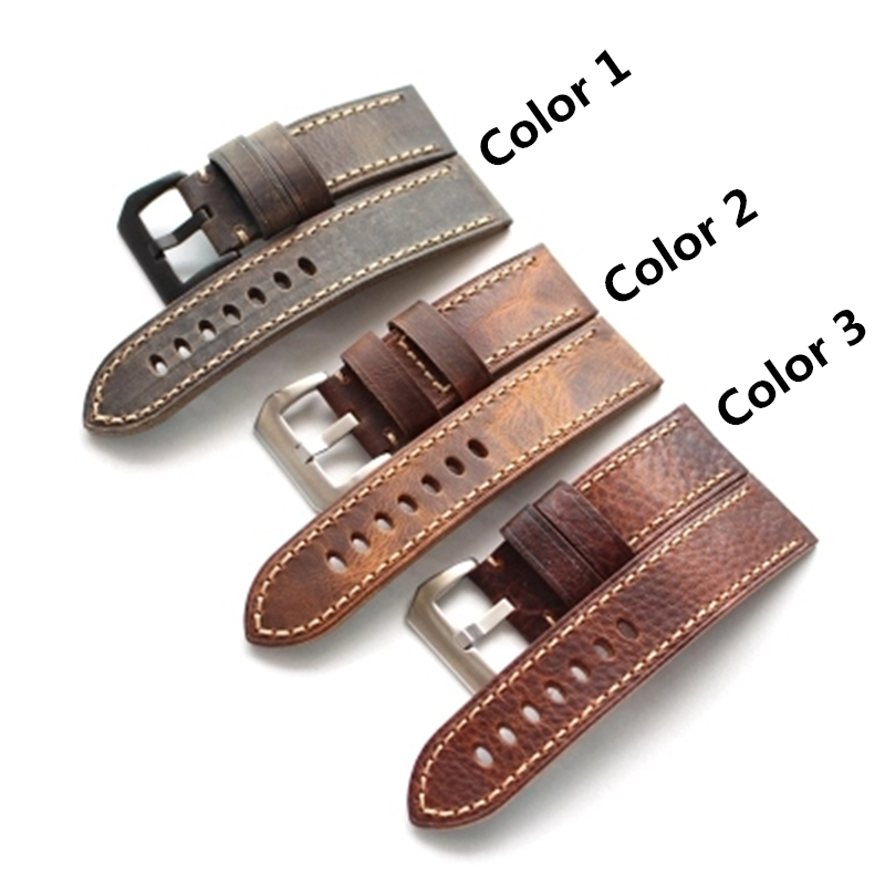 TJP Handmade Thick 20mm 22mm 24mm 26mm Gray Brown Crazy Horse Genuine leather Watchbands For PAM Garmin Zenith Pilot Strap tjp 1pcs 18mm 20mm 22mm 24mm 26mm green khaki black brown genuine crazy horse leather bracelet nato watch strap bands