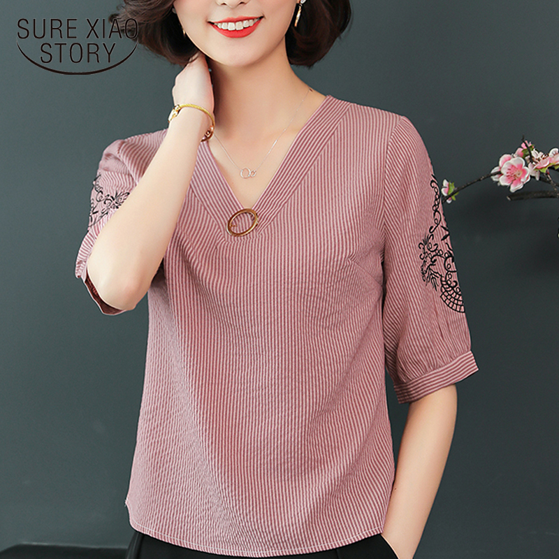 2019 new summer embroidered blouse shirts loose women tops short sleeved blouses striped v-neck casual women clothing 0424 40