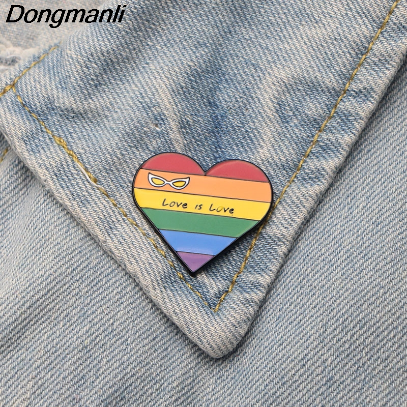 20pcs/lot Dongmanli Love is love Rainbow Metal Pin Clothes bags Brooch Homosexual Love Pins Badge Equal love Creative Gift M2486 цена