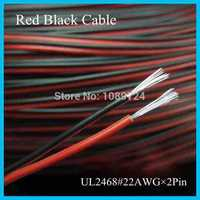 UL2468 30Meters 100 Feet/Lot Tinned copper 22AWG, 2 pin Red Black cable PVC insulated wire Electric cable LED cable DIY Connect
