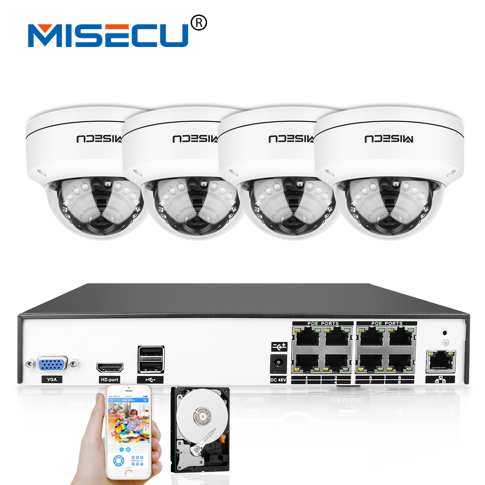 MISECU 4 k H.265/H.264 IEE802.3af 48 v PoE CCTV Système 8CH HDMI IR Anti-Vandalisme 4.0MP Métal Caméra Plug -jouer Mouvement Nuit de Sécurité